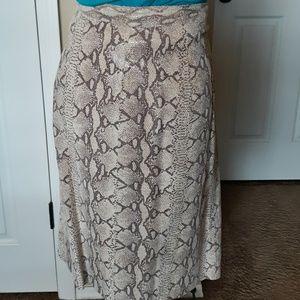 Bagatelle Snakeskin Print Suede Skirt